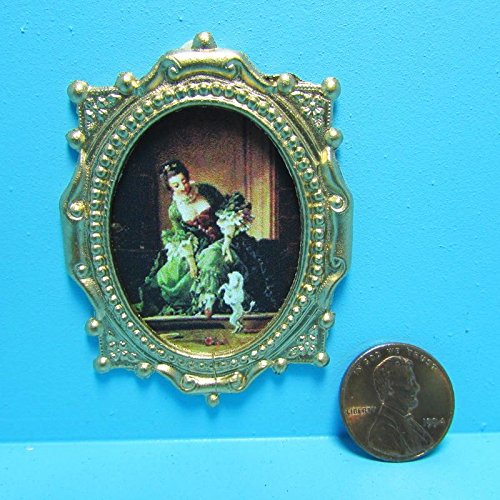 Dollhouse Miniature Dancing Dog with Victorian Lady Picture in Frame TIN - My Mini Fairy Garden Dollhouse Accessories for Outdoor or House Decor