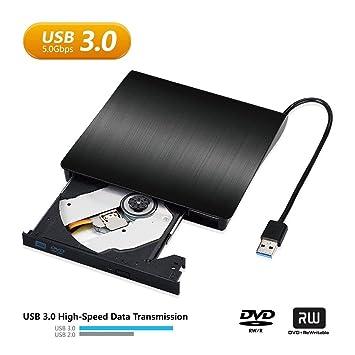 Reproductor Grabadora CD DVD Externo Portatil USB 3.0 Grabadora de Quemador Lector de CD DVD Externo Disco para PC Windows7/8/10,Linux,Mac OS: Amazon.es: ...