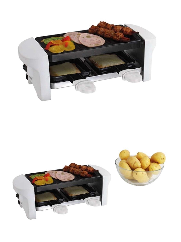 - Raclette/grill para 2 personas con sparsamen 350 W (1 parrilla, 2 sartenes antiadherente, mesa, parrilla de barbacoa eléctrica): Amazon.es: Hogar