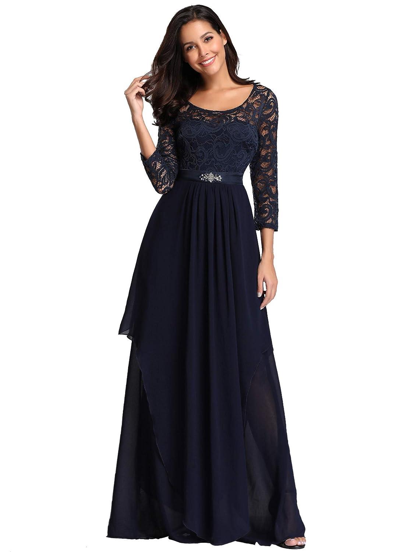 Ever Pretty Womens Elegant A Line Empire Waist with Long Sleeve Chiffon Long Evening Dresses EZ07716