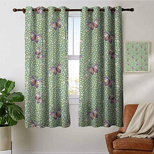 (petpany Blackout Curtain Panels Window Draperies Butterfly,Pastel Colored Foliage Background with Spring Bugs with Ornate Paisley Motifs,Multicolor,for Bedroom, Kitchen, Living Room 42