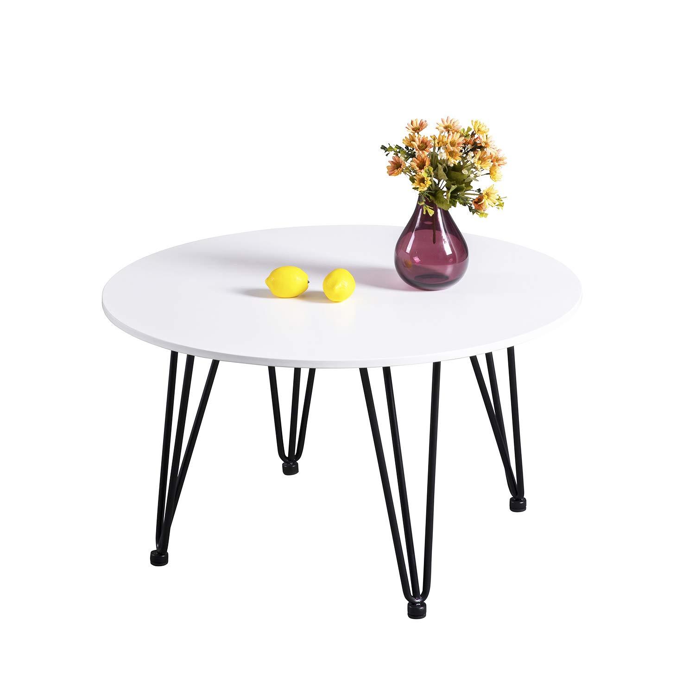 EGGREE Rund Esstisch Weiss Kaffetisch Beistelltisch Massivholz mit Metall Beinen Design für Wohnzimmer Esszimmer Küche, 80 x 80 x 45 cm