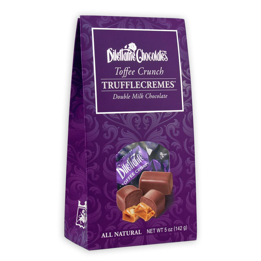 Toffee Crunch TruffleCremes in Milk Chocolate - 5 oz Gift Box - by Dilettante (3 Pack)