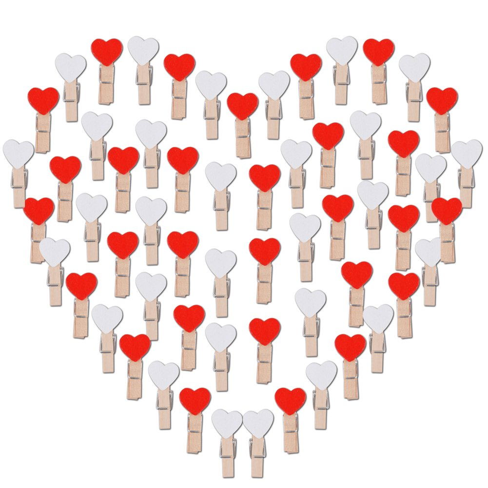 100pcs Wooden Heart Pegs Mini Wooden Clothespins Photo Clips Cloth Paper Art Craft DIY Clip ( White & Red ) AONER 10266
