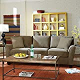 SoFab Muse II Three-Seat Sofa with Reversible Seat Cushions & Back Pillows Plus Two Reversible Accent Pillows all in a Pet-Approved/Kid Friendly Warm Grey Chenille Polyester Fabric