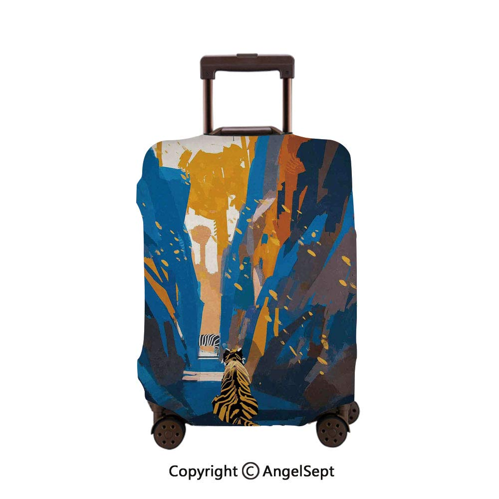 Home Protective Washable Suitcase Cover,Hello Winter Stylized Lettering on Abstract Blurry Snowflakes and Bokeh Effect,26x37.8inches,Travel Elastic Polyster Suitcase Protector