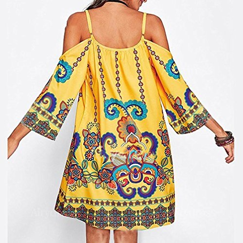 Tootu Boho Women Sexy Floral Printed Adjustable Half Sleeve Maxi Mini Dresses (S, Yellow)