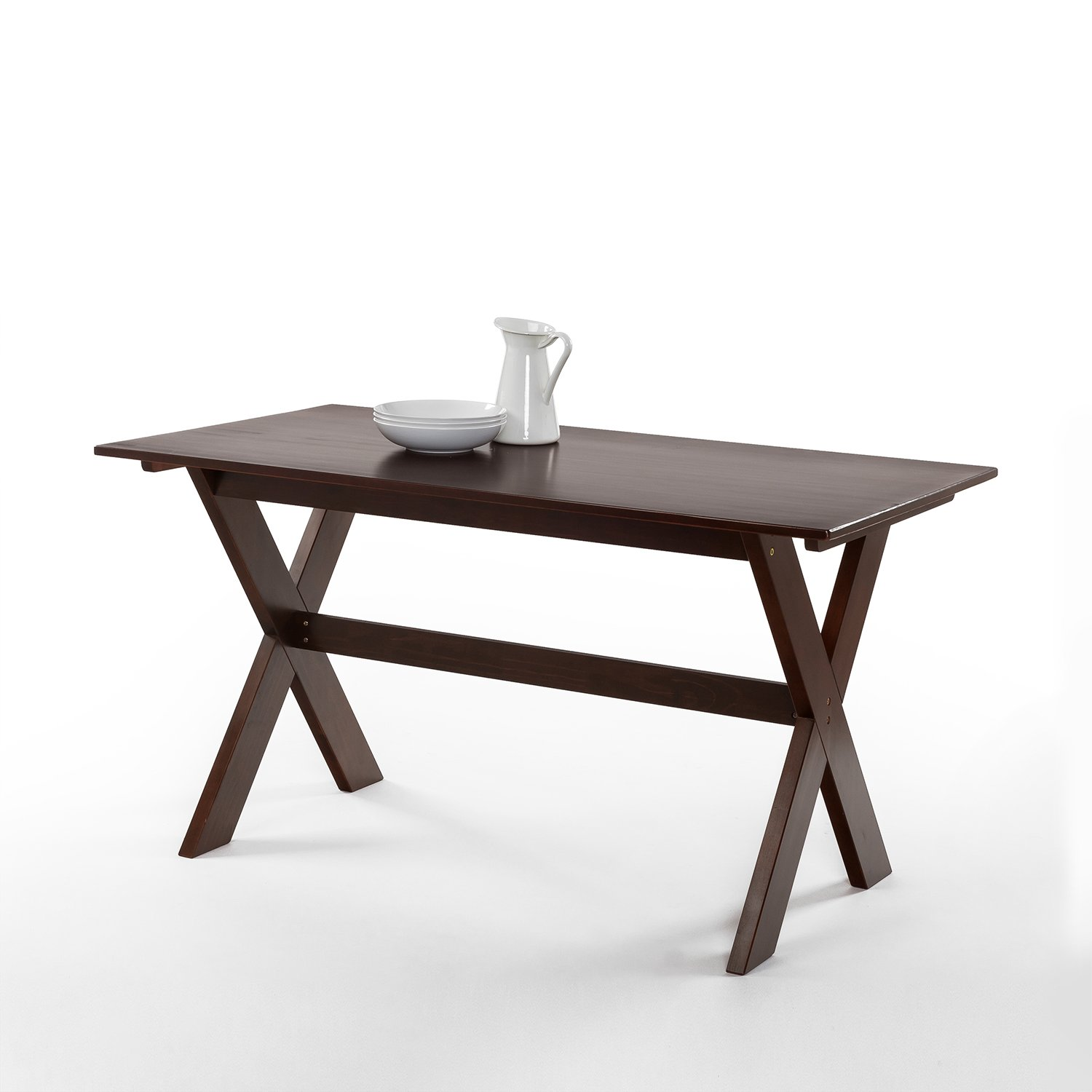 Zinus William Trestle Large Wood Dining Table / Espresso by Zinus