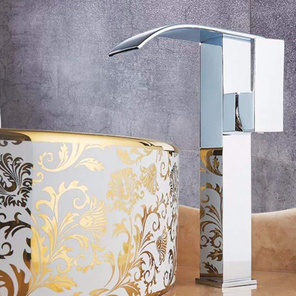 JingJingnet 洗面台ミキサータップ浴室のシンクの蛇口ホット&コールドシングルホール洗面台の蛇口フル銅プラス洗面台の滝の蛇口 (Color : B) B07SMTJ6LY B