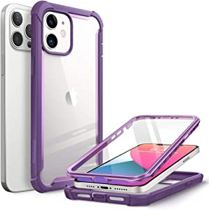 i-Blason Ares Case for iPhone 12, iPhone 12 Pro 6.1 Inch (2020 Release), Dual Layer Rugged Clear Bumper Case with Built-in Screen Protector (Purple)