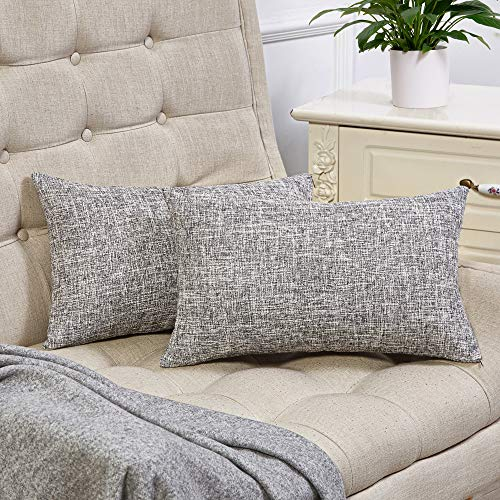 Anickal Set of 2 Silver Gray Lumbar Pillow Covers Cotton Linen Decorative Throw Pillow Covers 12x20 Inch for Sofa Couch Decoration (Lumbar Pillow Silver)