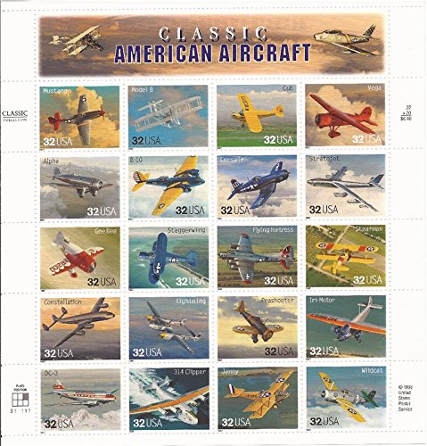 US Stamp - 1997 Classic American Aircraft - 20 Stamp Sheet Scott #3142
