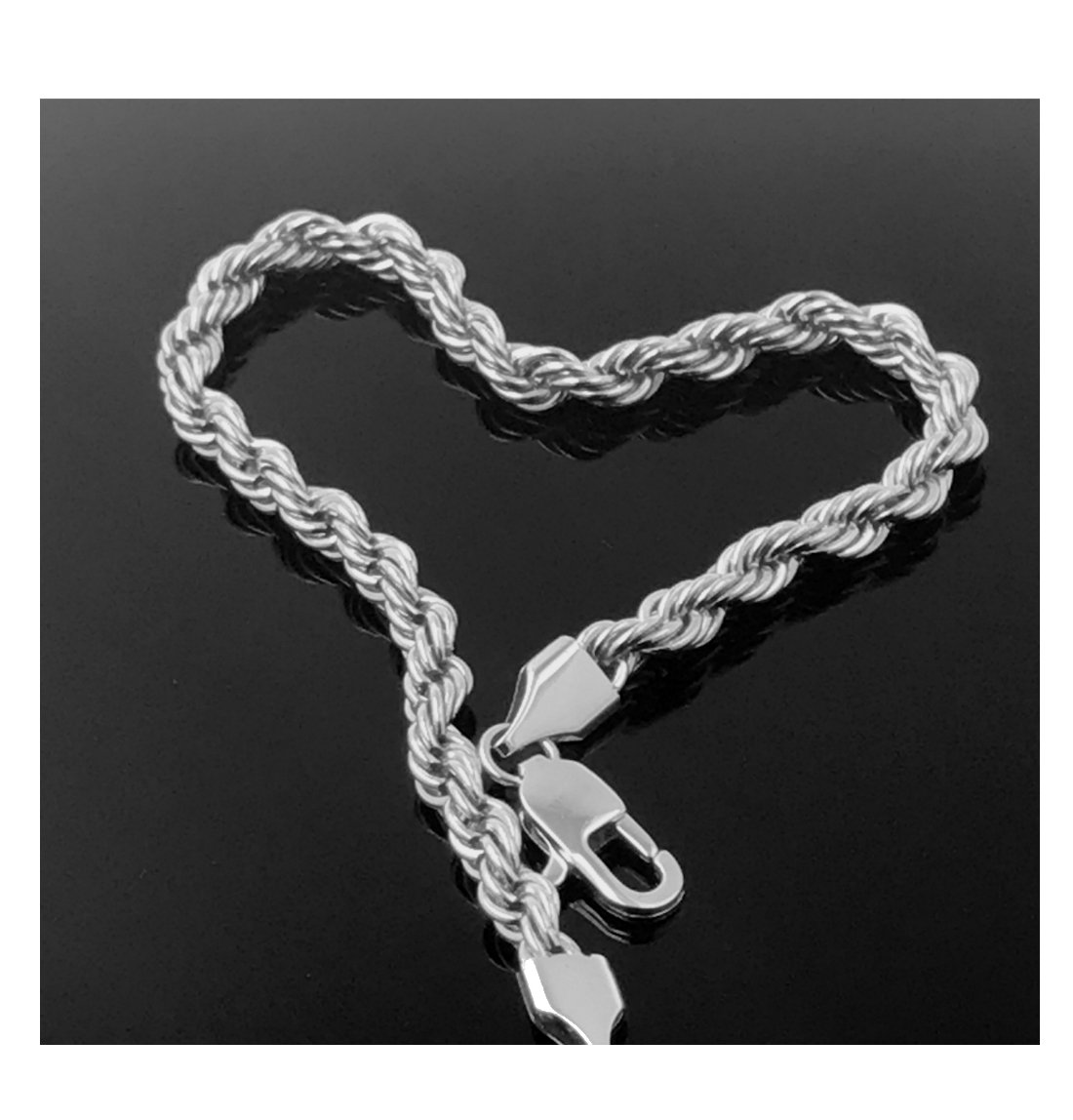 White Gold Filled 18kt Diamond Cut Rope Chain Bracelets 5MM With A USA Made! (8)