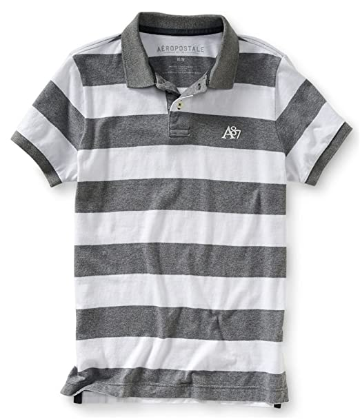 dd6fface Aeropostale Mens Striped A87 Rugby Polo Shirt Grey XS at Amazon Men's  Clothing store: