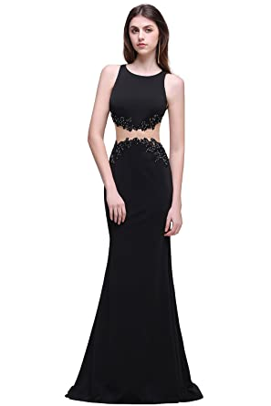 2018 Black Two-Pieces Sleeveless Mermaid Appliques Party Prom Dress( Customizable) (S