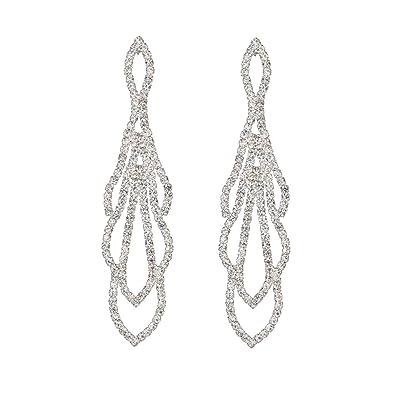 9ee36cc06 ... Bling Tassel Earrings Statement Art Deco Great Gatsby Rhinestone  Crystal Drop Earrings or Bracelet Beauty Pageant Bridal Wedding Party Earrings  Jewelry