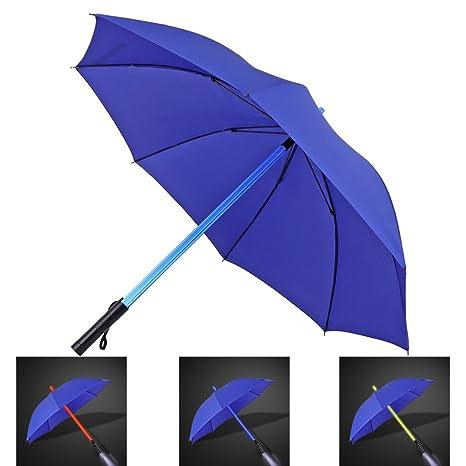 JTTVO - Paraguas ligero de espada láser resistente al viento 8 varillas, con luz LED que cambia de color en el eje del paraguas; para viajar, regalos únicos ...