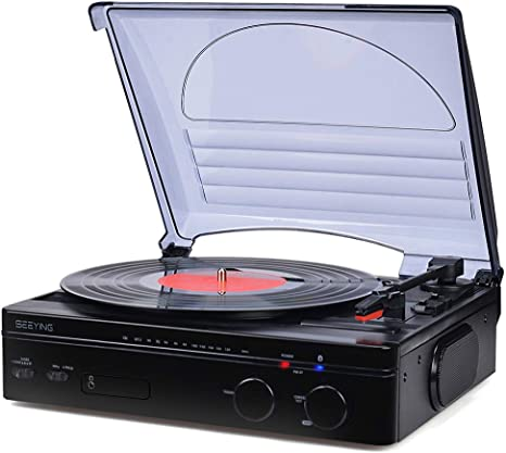 Record Player Bluetooth Turntable with Stereo Speakers Portable Belt-Driven Nostalgic LP Vinyl Record Player with FM Stereo Radio Line Output ...