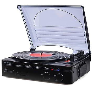 Reproductor de discos de vinilo, tocadiscos con Bluetooth ...