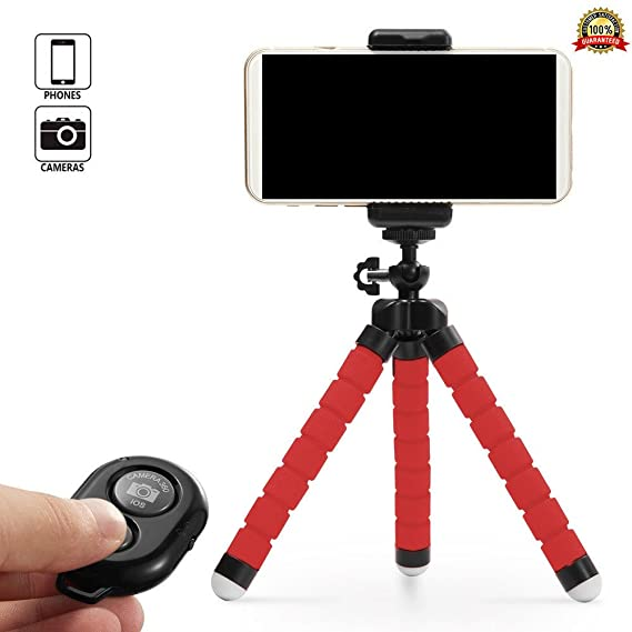 finest selection 3b106 97307 Cell Phone Tripod for iPhone 8 / 7 / 6 Plus, Samsung & Camera Mount Holder  with Bluetooth Remote Shutter flexible Octopus Adapter Selfie Stick Clamp  ...