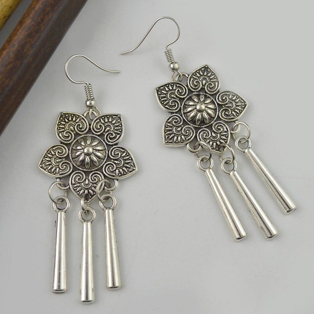 Jinxian Drop Earrings Hook Bohemian Boho Dangling Vintage Studs Ethnic Style