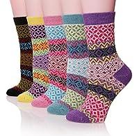 ProEtrade Women Wool Thick Winter Socks - 5 Pairs Warm Crew Socks
