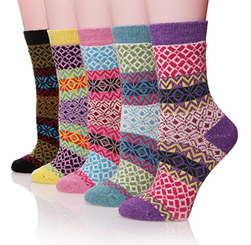 100% Cashmere Socks - ProEtrade Women Wool Thick Winter Socks 5 Pairs Warm Crew Socks (Snowflake) Snowflake Free