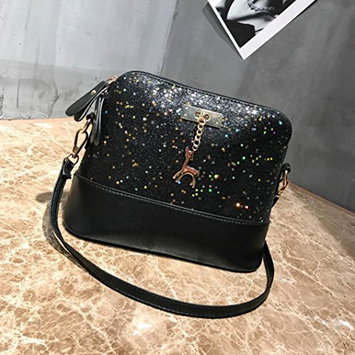Shoulder Fashion Handbag Splice Blu Tote Bag Women Fami Leather Sequined bag Bag shoulder Nero Crossbody Messenger Bag wqW8zSd