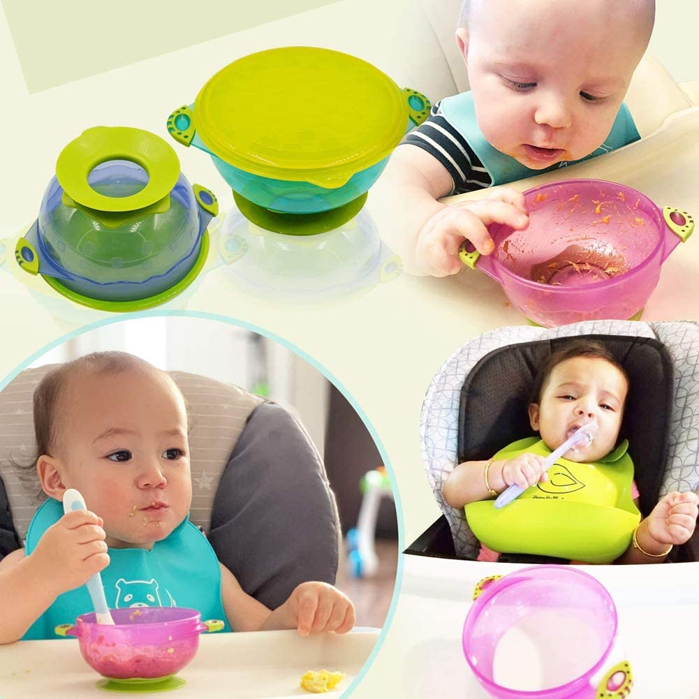 BPA-Free Perfect Baby Shower Gift Set Zerobox Baby Bowls with Suction 3 Pack Different Size Nonslip Spill Proof Feeding Bowls for Infant Toddler