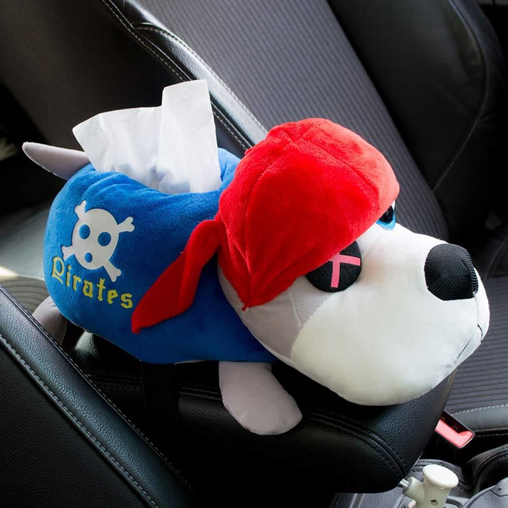 Slivy Cartoon Pirate Dog Car Facial Tissue Box Cover Funny Plush Napkin Holder Creative Pumping Paper Dispenser for Automotive Seat Back, Armrest, Instrument Panel Decoration (Color : Blue) by Slivy