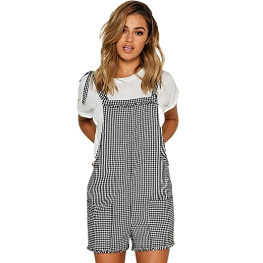 b627aa61f30e Amazon.com  Women Straps Jumpsuits Outfits Overalls Shorts Pants Checkered  Rompers Trousers Playsuits Casual Loose  Clothing