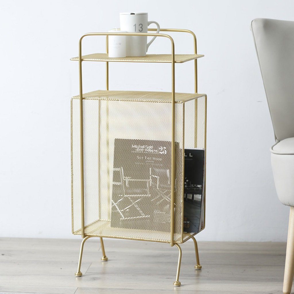 Chi Cheng Fang Electronic business Magazine Holders Floor magazine rack Iron Bookshelf debris racks living room storage rack storage rack simple (Color : Gold) by Chi Cheng Fang Electronic business (Image #1)