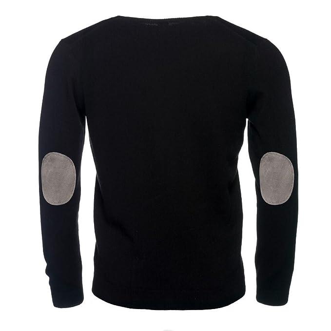 ALLBOW Suéter para Hombre con V-Cuello Jersey con Parches Negro q4OK9
