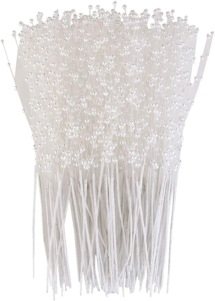 ULTNICE 100pcs String Pearls Sticks Bridal Wedding Pearl Bouquet Party Decor