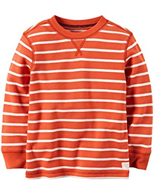 Carter's Boy L/S Striped Thermal Tee; Orange, 6 Months