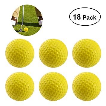 WINOMO Pack DE 18 Pelotas de Golf de gomaespuma de Golf - Color Amarillo: Amazon.es: Deportes y aire libre