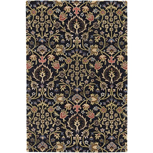 Diva At Home 6' x 9' English Botany Tar Black and Bay Leaf Green Hand Tufted Wool Area Throw Rug ()