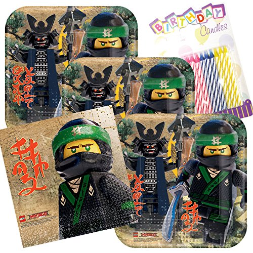 Lego Ninjago Party Plates and Napkins Serves 16 With Birthday Candles