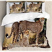 Funy Decor Africa Comforter Set, Cheetahs Mother and Two Young Baby Looking for Food Dangerous Exotic Animals Design Bedding Set 4 Piece Duvet Cover Set Includes 2 Pillow Shams, Tan Black Queen Size