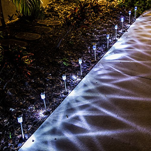 Logical Luxury Decorative Outdoor Solar Garden Lights (10 Pack) enhances Pathways driveways patios and gazebos; Classic Simple Stainless Steel Design; Soft White LED Powered; Water/Weatherproof by Logical Luxury (Image #7)