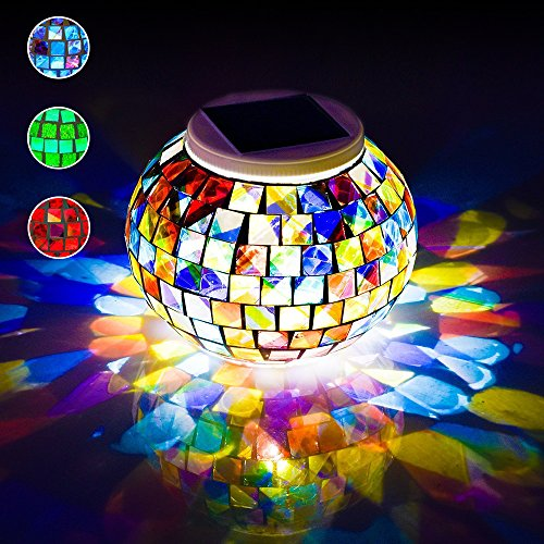 LUCKSTAR Solar Mosaic Lamp Table Light - Waterproof Color Changing Glass Ball Garden Light Solar Powered LED Night Light for Christmas/Home/Yard/Outdoor/Indoor/Patio Decor Ideal Festival (Garden Magic Table Lamp)