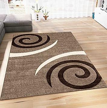 Wohnzimmer Teppich Modern Design Beige Braun Kreisel Muster Konturenschnitt  Pflegeleicht 160x230 Cm