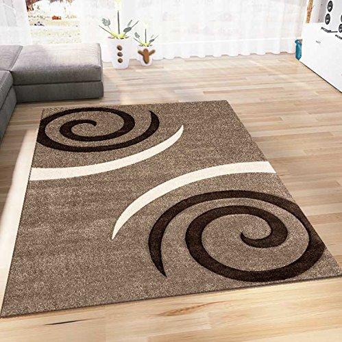 Wohnzimmer Teppich Modern Design Beige Braun Kreisel Muster