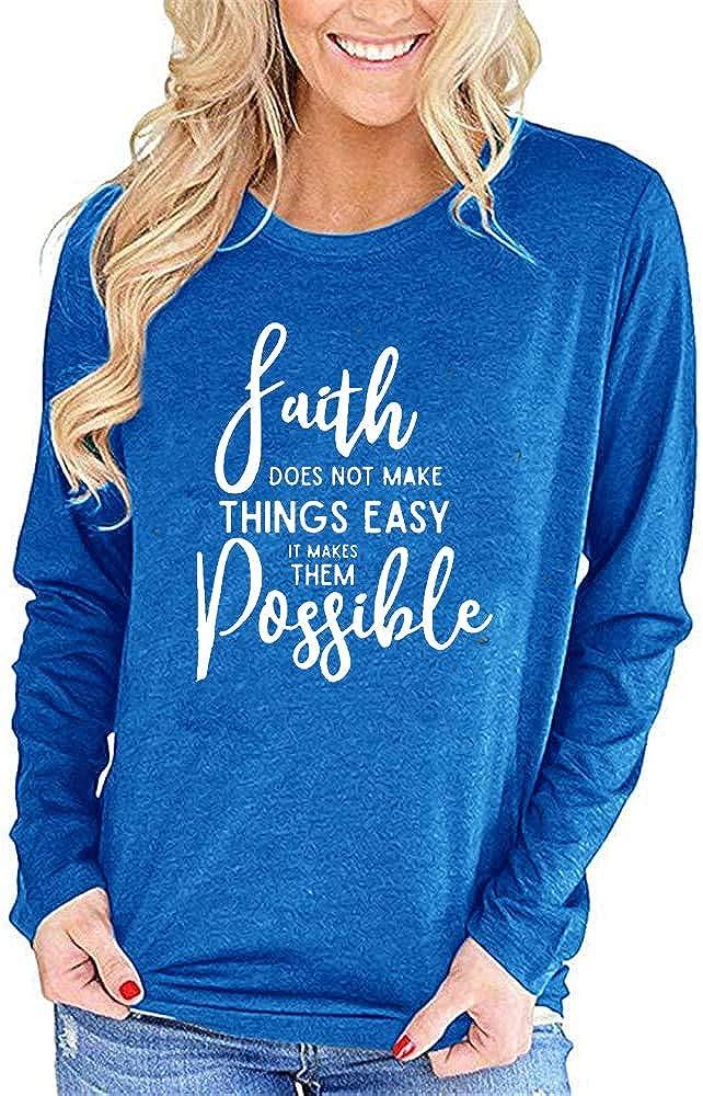 50% Off Coupon – Womens Long Sleeve Faith Theme Shirt