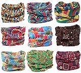 Kingree 9PCS Headbands, Outdoor Multifunctional Headwear, Sports Magic Scarf, High Elastic Headband with UV Resistance, Athletic Headwrap, Mens Sweatband, Womens Hairband (Beauty of Peacock)