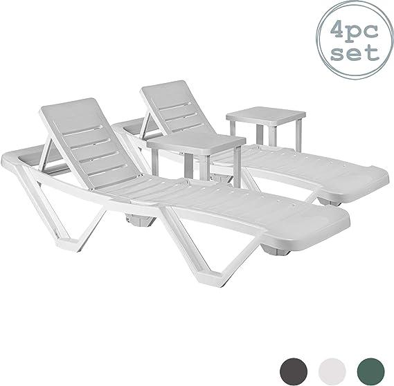 Resol Master sol tumbonas de plástico y Resol mesas laterales (total tamaño - 2 tumbonas y mesas 2) - resistente Ultravioleta, elegante y duradero muebles para su jardín: Amazon.es: Jardín
