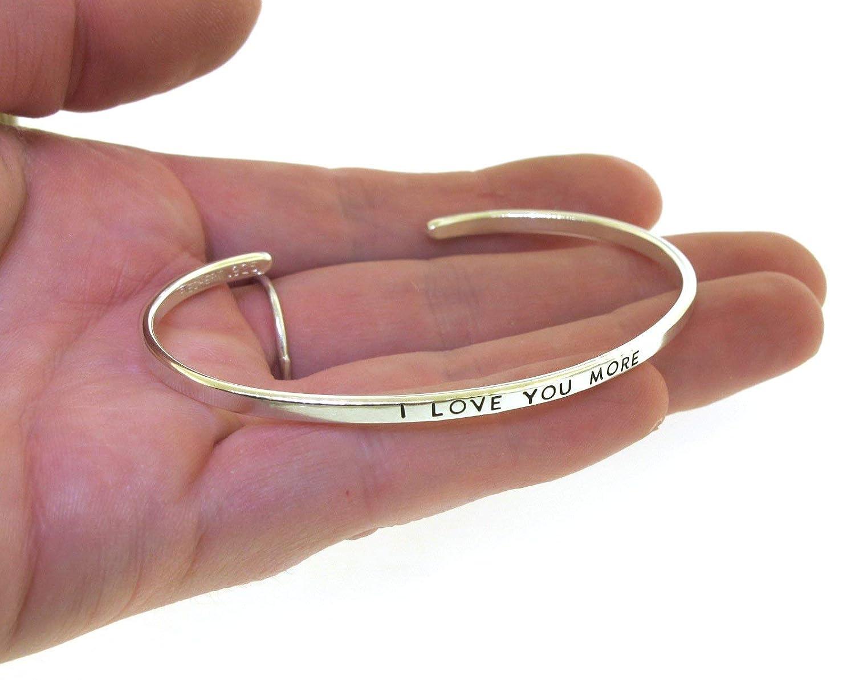 I Love You More silver cuff bracelet