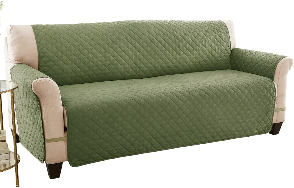 Reversible Spill Resistant Quilted Furniture Protector Cover with Ties - Covers Seat Bottom, Seat Back and 2 Seat Arms, Olive/Sage, Loveseat