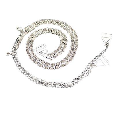 07b7a2928c34b TreasureBay Bling Bling Diamante Bra Straps Crystal diamante   Metal Bar Single  Row Design - One Pair  Amazon.co.uk  Jewellery