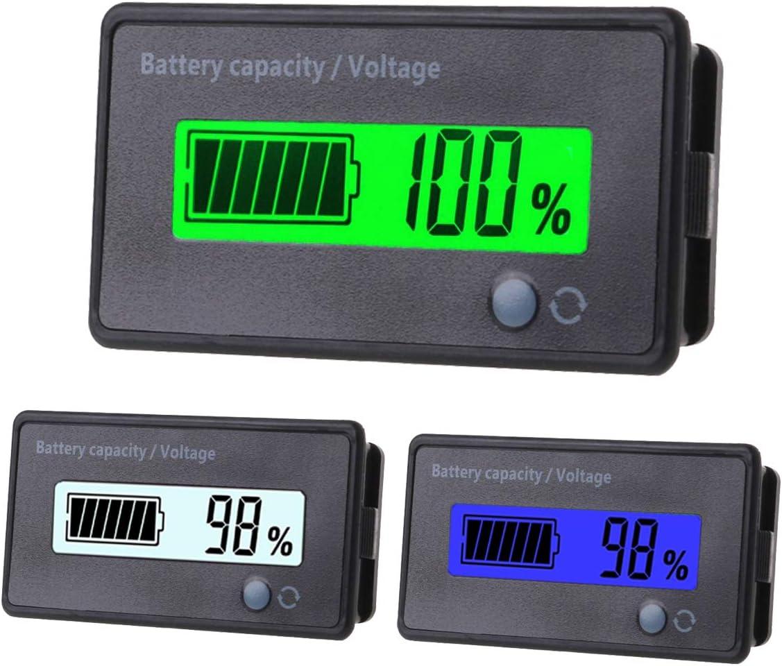 ZHITING 3pcs Indicador de Capacidad de la Batería 12V-84V Voltaje Medidor Monitor de Batería de Plomo ácido con Pantalla LCD
